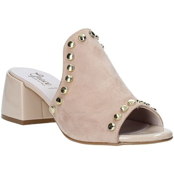 Schoenen Dames Leren slippers Grace Shoes 1576006 Beige