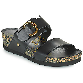 Schoenen Dames Leren slippers Panama Jack CATRINA Zwart