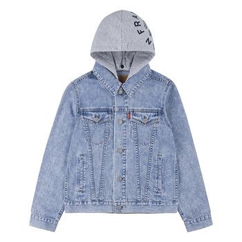 Textiel Jongens Spijker jassen Levi's HOODED TRUCKER JACKET Bloom