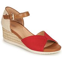 Schoenen Dames Sandalen / Open schoenen Geox D ISCHIA CORDA D Rood / Cognac