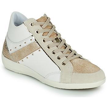 Schoenen Dames Hoge sneakers Geox D MYRIA G Wit / Beige