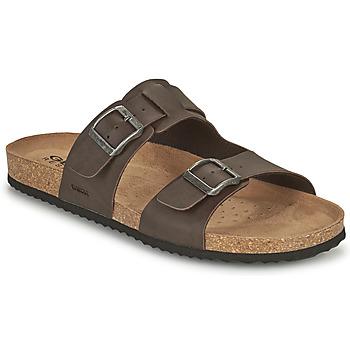 Schoenen Heren Leren slippers Geox U SANDAL GHITA B Bruin