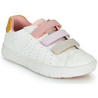 Schoenen Meisjes Lage sneakers Geox SILENEX GIRL Wit / Roze / Beige