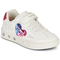 Schoenen Meisjes Lage sneakers Geox SKYLIN GIRL Wit / Zwart / Roze