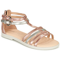 Schoenen Meisjes Sandalen / Open schoenen Geox SANDAL KARLY GIRL Roze / Zilver