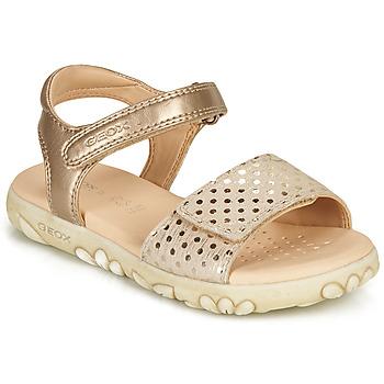 Schoenen Meisjes Sandalen / Open schoenen Geox SANDAL HAITI GIRL Beige / Goud