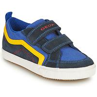 Schoenen Jongens Lage sneakers Geox ALONISSO BOY Marine / Geel