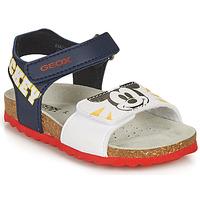 Schoenen Jongens Sandalen / Open schoenen Geox SANDAL CHALKI BOY Marine / Wit