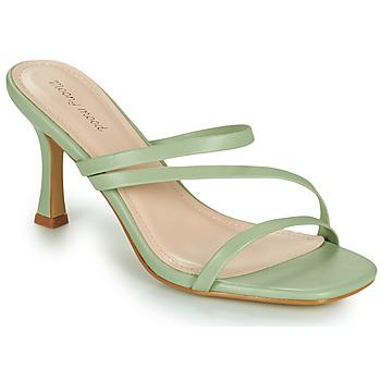 Schoenen Dames Leren slippers Moony Mood OBIUTI Groen / Amandel