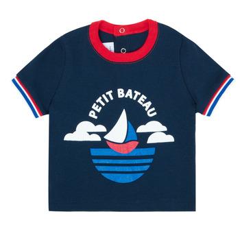 Textiel Jongens T-shirts korte mouwen Petit Bateau MENU Marine