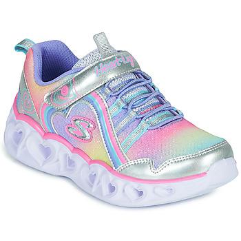 Schoenen Meisjes Lage sneakers Skechers HEART LIGHTS RAINBOW LUX Zilver / Roze