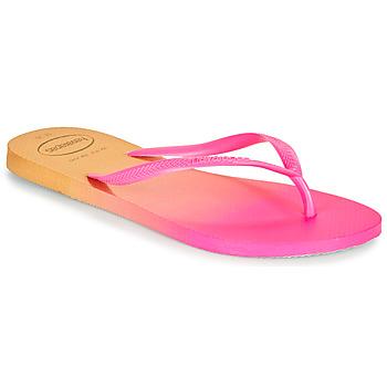 Schoenen Dames Teenslippers Havaianas SLIM GRADIENT Roze / Geel