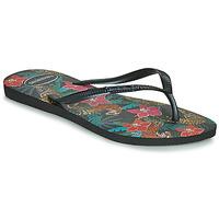 Schoenen Dames Teenslippers Havaianas SLIM TROPICAL Zwart / Grijs