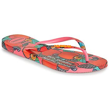 Schoenen Dames Teenslippers Havaianas SLIM SUMMER Roze / Rood