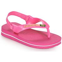 Schoenen Meisjes Teenslippers Havaianas BABY BRASIL LOGO II Roze