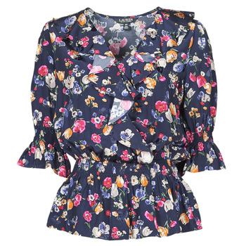 Textiel Dames Overhemden Lauren Ralph Lauren HELZIRA Blauw / Multicolour