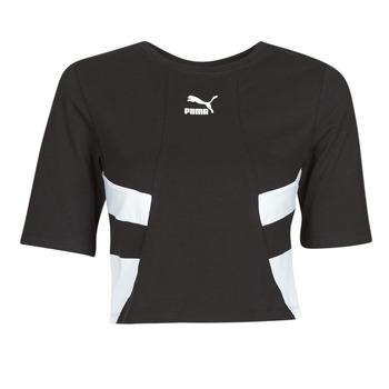 Textiel Dames T-shirts korte mouwen Puma RETRO FROPnTOP Zwart