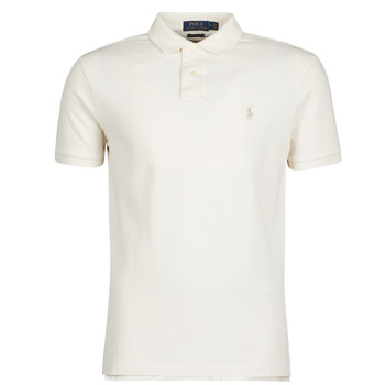 Textiel Heren Polo's korte mouwen Polo Ralph Lauren POLO CINTRE SLIM FIT EN COTON BASIC MESH LOGO PONY PLAYER Ecru