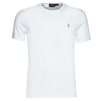 Textiel Heren T-shirts korte mouwen Polo Ralph Lauren T-SHIRT AJUSTE COL ROND EN PIMA COTON LOGO PONY PLAYER MULTICOLO Wit
