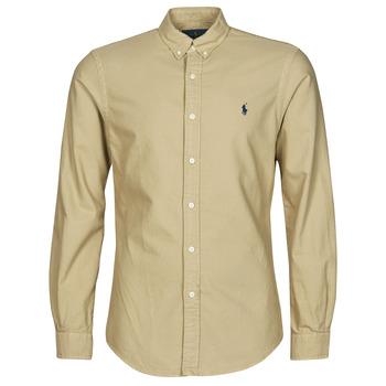 Textiel Heren Overhemden lange mouwen Polo Ralph Lauren CHEMISE CINTREE SLIM FIT EN OXFORD LEGER TYPE CHINO COL BOUTONNE Beige