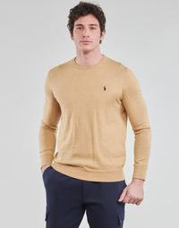 Textiel Heren Truien Polo Ralph Lauren PULL COL ROND AJUSTE EN COTON PIMA LOGO PONY PLAYER Camel
