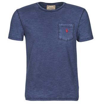 Textiel Heren T-shirts korte mouwen Polo Ralph Lauren T-SHIRT AJUSTE COL ROND EN COTON LOGO PONY PLAYER Blauw