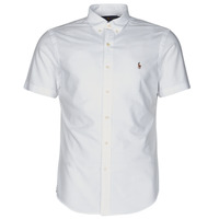 Textiel Heren Overhemden korte mouwen Polo Ralph Lauren CHEMISE CINTREE SLIM FIT EN OXFORD COL BOUTONNE LOGO PONY PLAYER Wit