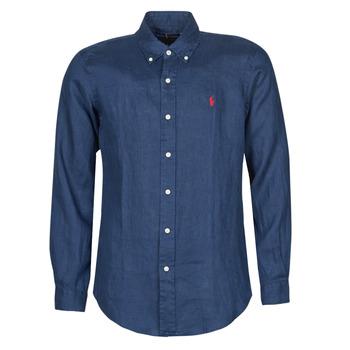 Textiel Heren Overhemden lange mouwen Polo Ralph Lauren CHEMISE AJUSTEE EN LIN COL BOUTONNE  LOGO PONY PLAYER Blauw