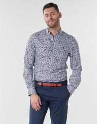 Textiel Heren Overhemden lange mouwen Polo Ralph Lauren CHEMISE CINTREE SLIM FIT EN POPLINE DE COTON COL BOUTONNE LOGO P Blauw