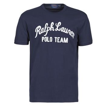Textiel Heren T-shirts korte mouwen Polo Ralph Lauren T-SHIRT COL ROND EN COTON AVEC POLO RALPH LAUREN SIGNATURE Marine