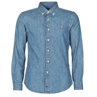Textiel Heren Overhemden lange mouwen Polo Ralph Lauren CHEMISE CINTREE SLIM FIT EN JEAN DENIM BOUTONNE LOGO PONY PLAYER Blauw