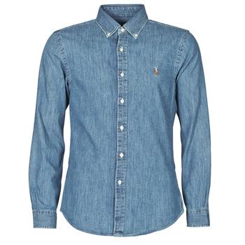 Textiel Heren Overhemden lange mouwen Polo Ralph Lauren CHEMISE CINTREE SLIM FIT EN JEAN DENIM BOUTONNE LOGO PONY PLAYER Blauw / Denim
