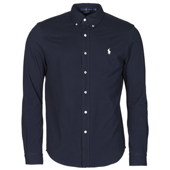 Textiel Heren Overhemden lange mouwen Polo Ralph Lauren CHEMISE AJUSTEE COL BOUTONNE EN POLO FEATHERWEIGHT LOGO PONY PLA Marine