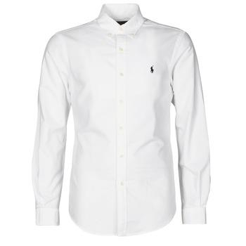 Textiel Heren Overhemden lange mouwen Polo Ralph Lauren CHEMISE CINTREE SLIM FIT EN OXFORD LEGER TYPE CHINO COL BOUTONNE Wit