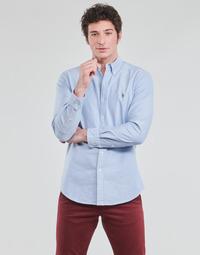 Textiel Heren Overhemden lange mouwen Polo Ralph Lauren CHEMISE AJUSTEE EN OXFORD COL BOUTONNE  LOGO PONY PLAYER MULTICO Blauw