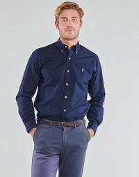 Textiel Heren Overhemden lange mouwen Polo Ralph Lauren CHEMISE AJUSTEE EN POPLINE DE COTON COL BOUTONNE  LOGO PONY PLAY Marine