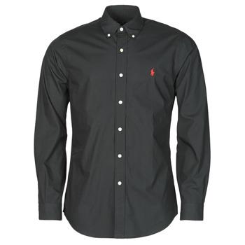 Textiel Heren Overhemden lange mouwen Polo Ralph Lauren CHEMISE AJUSTEE EN POPLINE DE COTON COL BOUTONNE  LOGO PONY PLAY Zwart