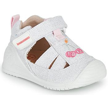 Schoenen Meisjes Sandalen / Open schoenen Biomecanics 212213 Zilver / Wit