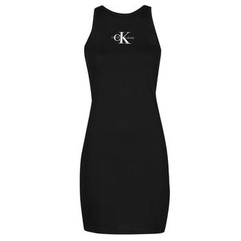 Textiel Dames Korte jurken Calvin Klein Jeans MONOGRAM TANK DRESS Zwart
