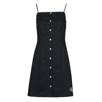 Textiel Dames Korte jurken Calvin Klein Jeans COTTON TWILL BUTTON DRESS Zwart