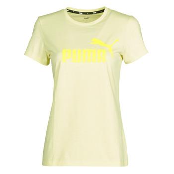 Textiel Dames T-shirts korte mouwen Puma ESS Logo Tee (s) Geel