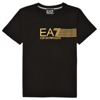 Textiel Jongens T-shirts korte mouwen Emporio Armani EA7 3KBT54-BJ02Z-1200 Zwart / Goud