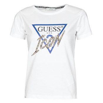 Textiel Dames T-shirts korte mouwen Guess SS CN ICON TEE Wit