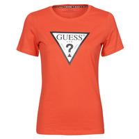 Textiel Dames T-shirts korte mouwen Guess SS CN ORIGINAL TEE Rood