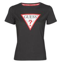 Textiel Dames T-shirts korte mouwen Guess SS CN ORIGINAL TEE Zwart