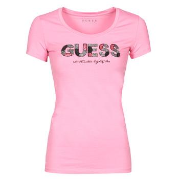 Textiel Dames T-shirts korte mouwen Guess SS RN MARTINA TEE Roze