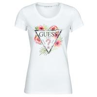 Textiel Dames T-shirts korte mouwen Guess SS CN REBECCA TEE Wit / Multicolour