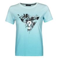 Textiel Dames T-shirts korte mouwen Guess SS CN PALMS TEE Blauw