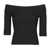 Textiel Dames T-shirts met lange mouwen Guess DAYNA OFF SHOULDER SWTR Zwart