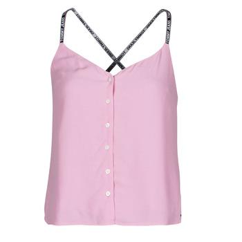 Textiel Dames Tops / Blousjes Tommy Jeans TJW CAMI TOP BUTTON THRU Roze